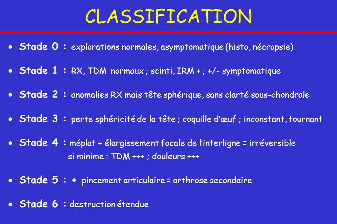 CLASSIFICATION Stade 0 : explorations normales, asymptomatique (histo, nécropsie) Stade 1 : RX, TDM normaux ; scinti, IRM + ; +/- symptomatique.