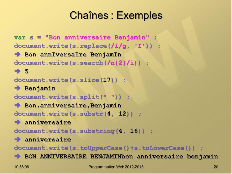 Chaînes : Exemples var s = Bon anniversaire Benjamin ;