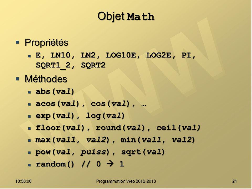 Objet Math Propriétés Méthodes