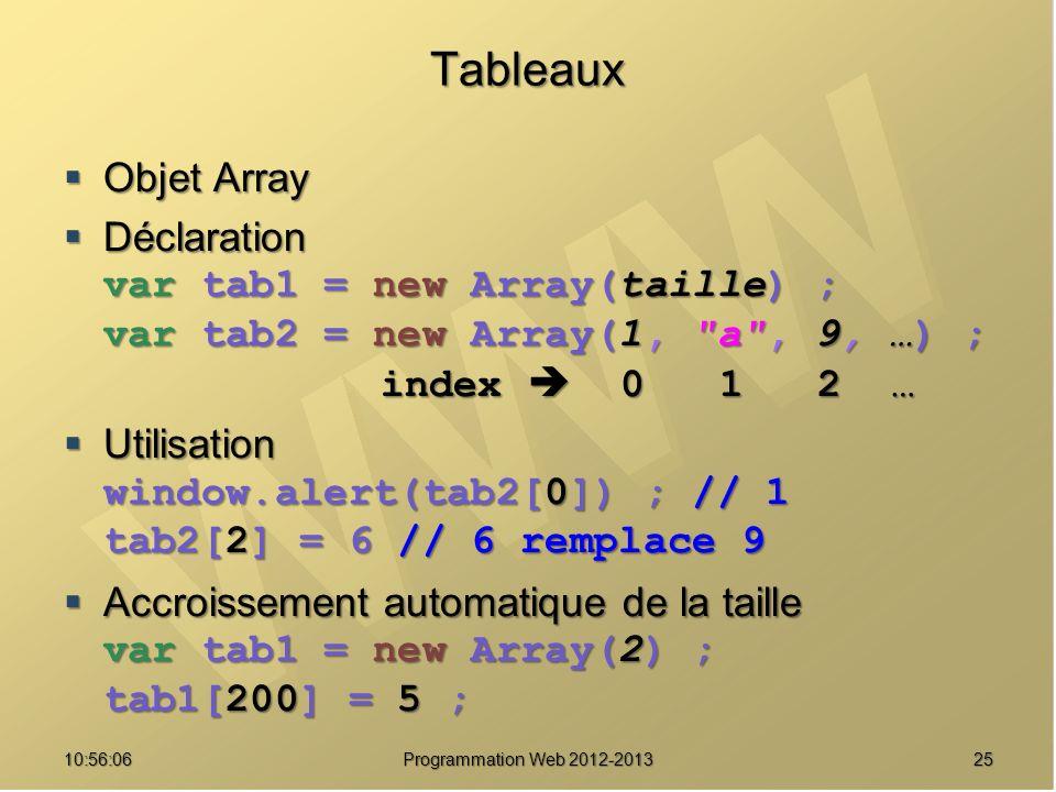 Tableaux Objet Array Déclaration var tab1 = new Array(taille) ;