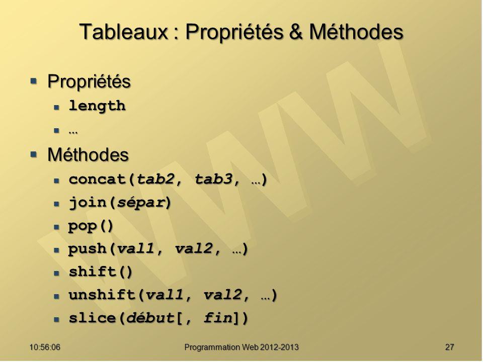 Tableaux : Propriétés & Méthodes