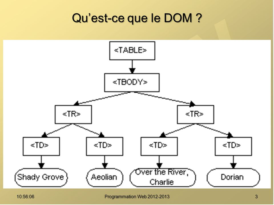 Qu'est-ce que le DOM <table> <tbody>