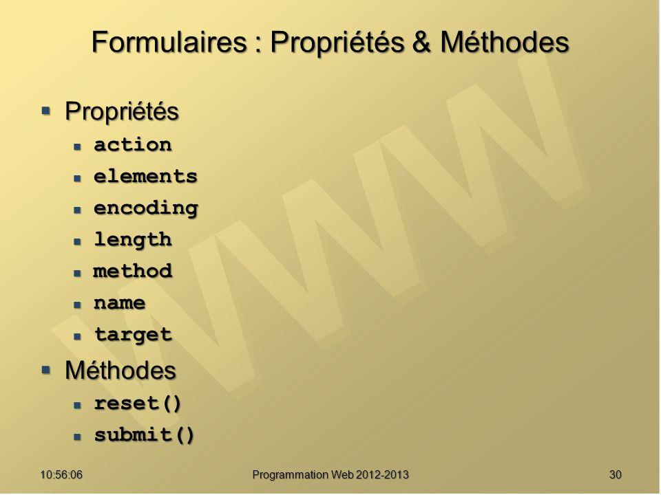 Formulaires : Propriétés & Méthodes