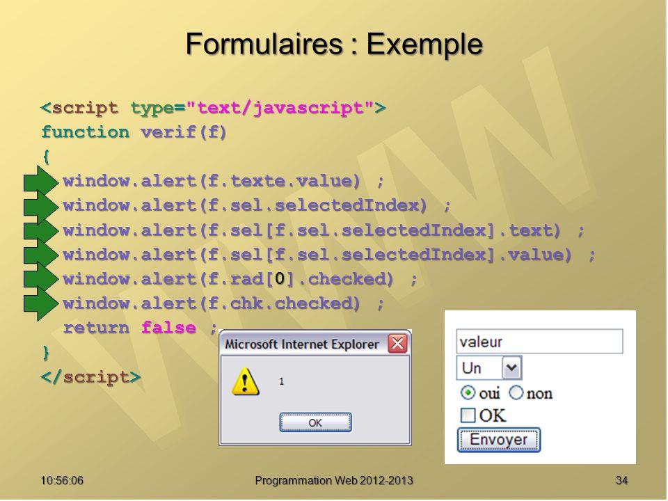 Formulaires : Exemple <script type= text/javascript >