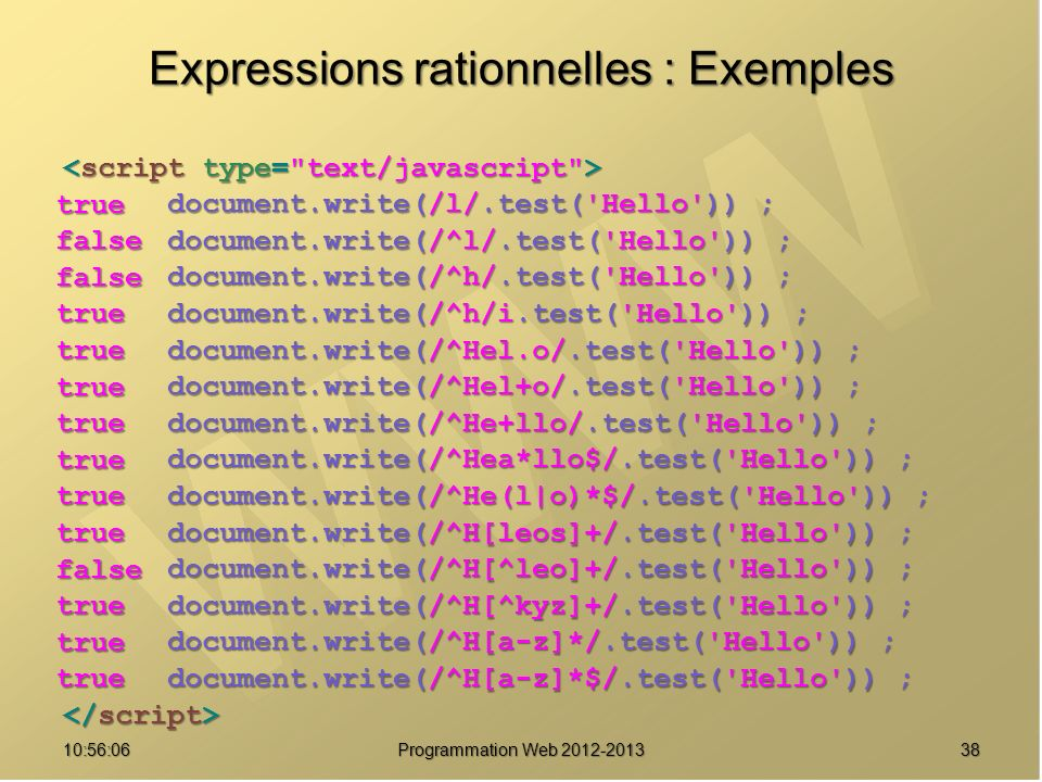 Expressions rationnelles : Exemples