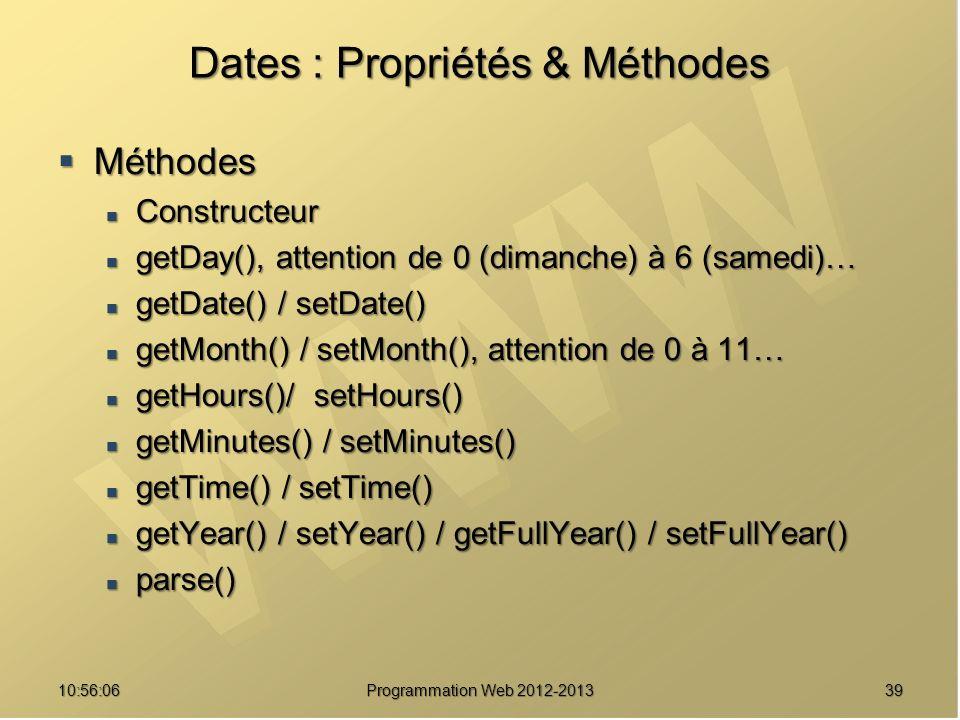 Dates : Propriétés & Méthodes