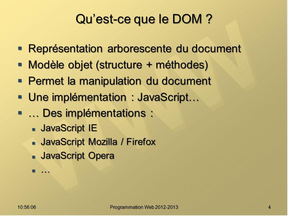 Qu'est-ce que le DOM Représentation arborescente du document