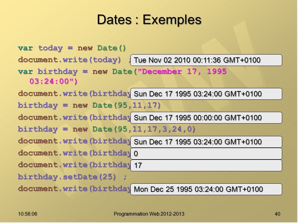 Dates : Exemples