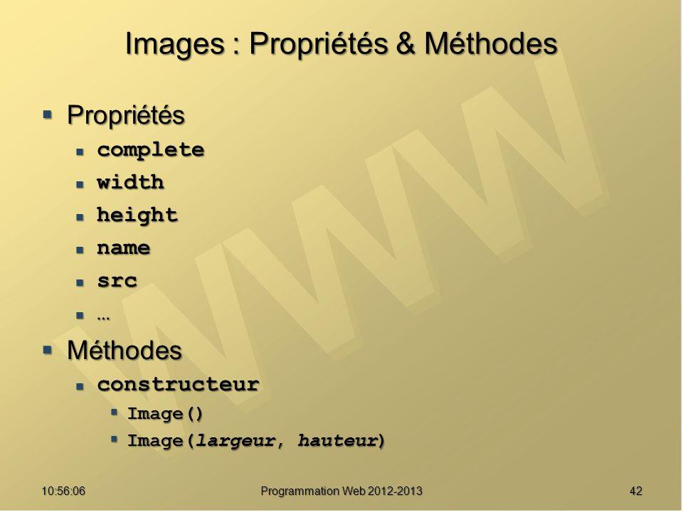 Images : Propriétés & Méthodes