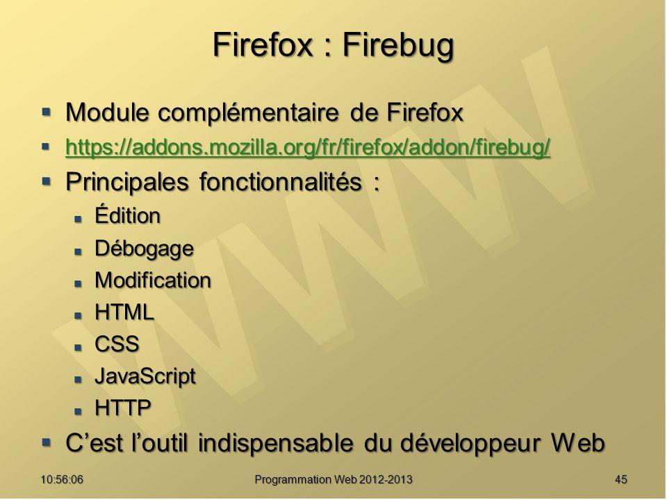 Firefox : Firebug Module complémentaire de Firefox