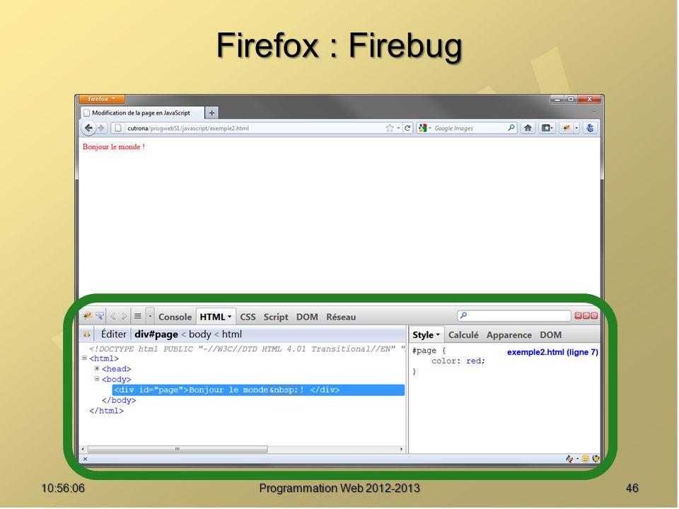 Firefox : Firebug 01:07:44 Programmation Web 2012-2013