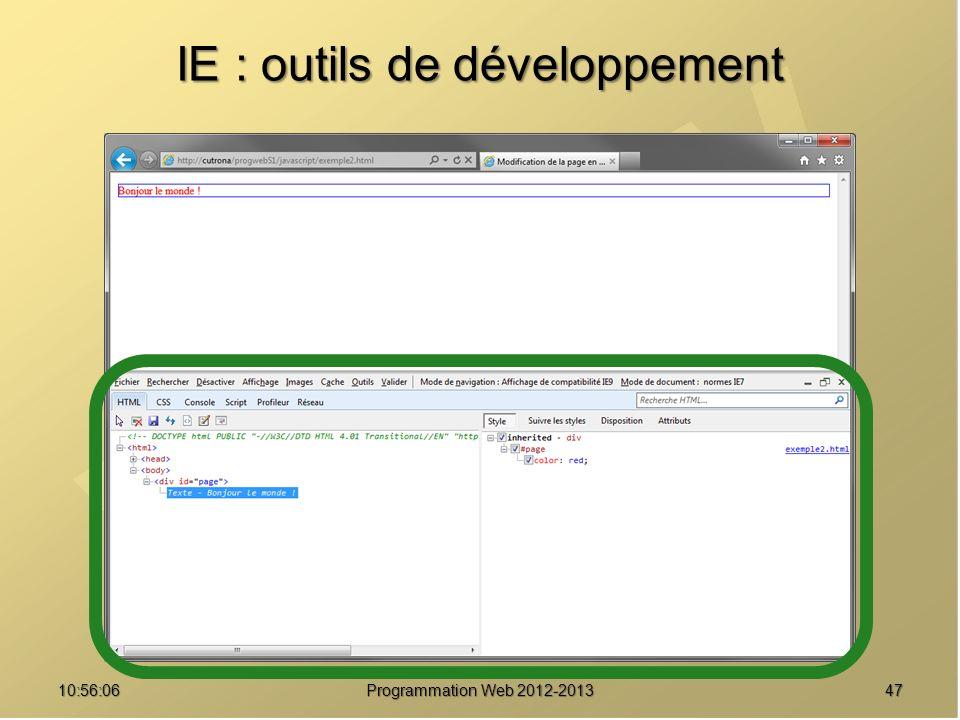 IE : outils de développement