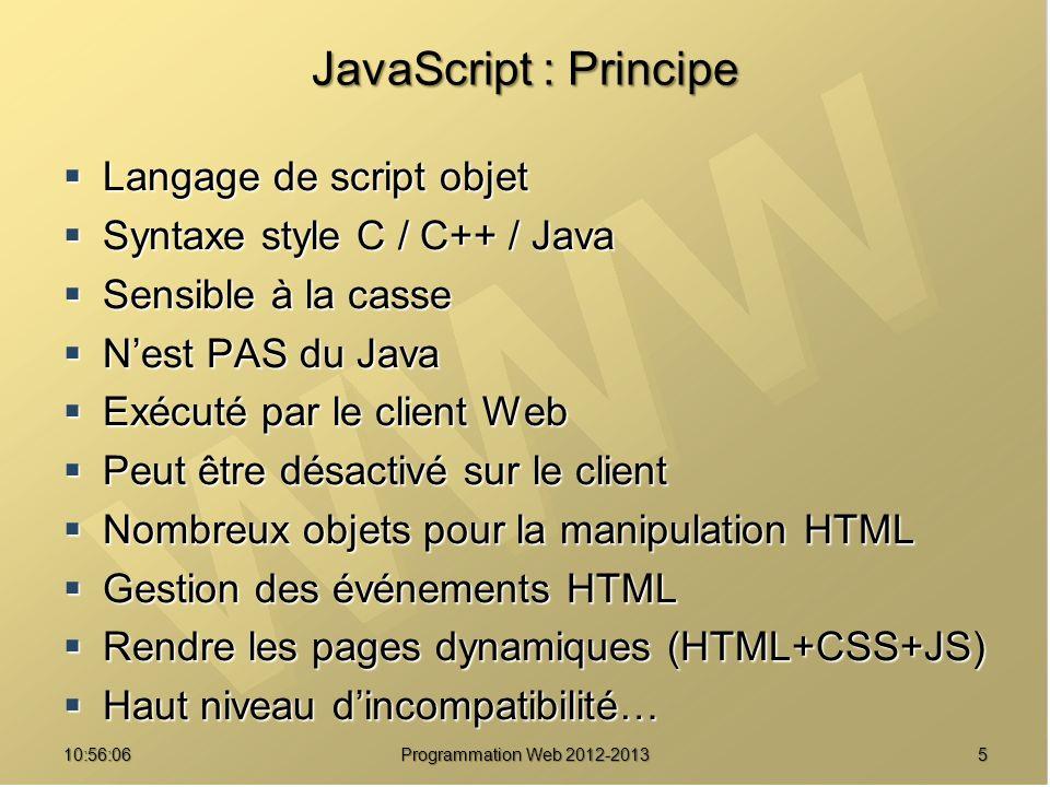 JavaScript : Principe Langage de script objet
