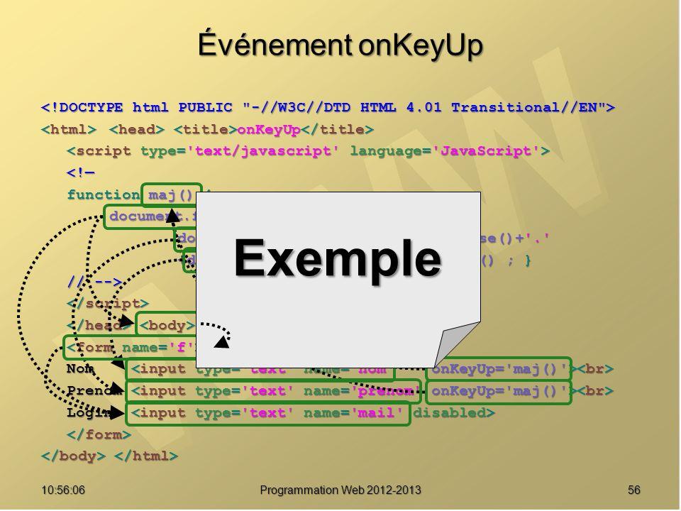 Exemple Événement onKeyUp