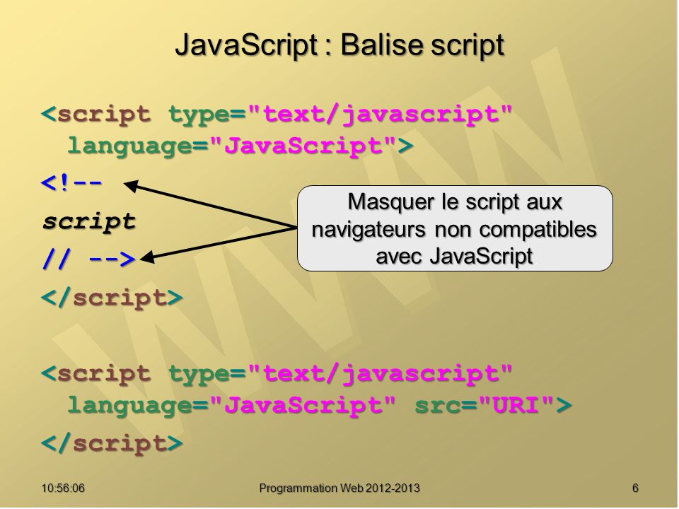 JavaScript : Balise script