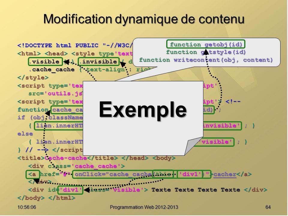 Modification dynamique de contenu