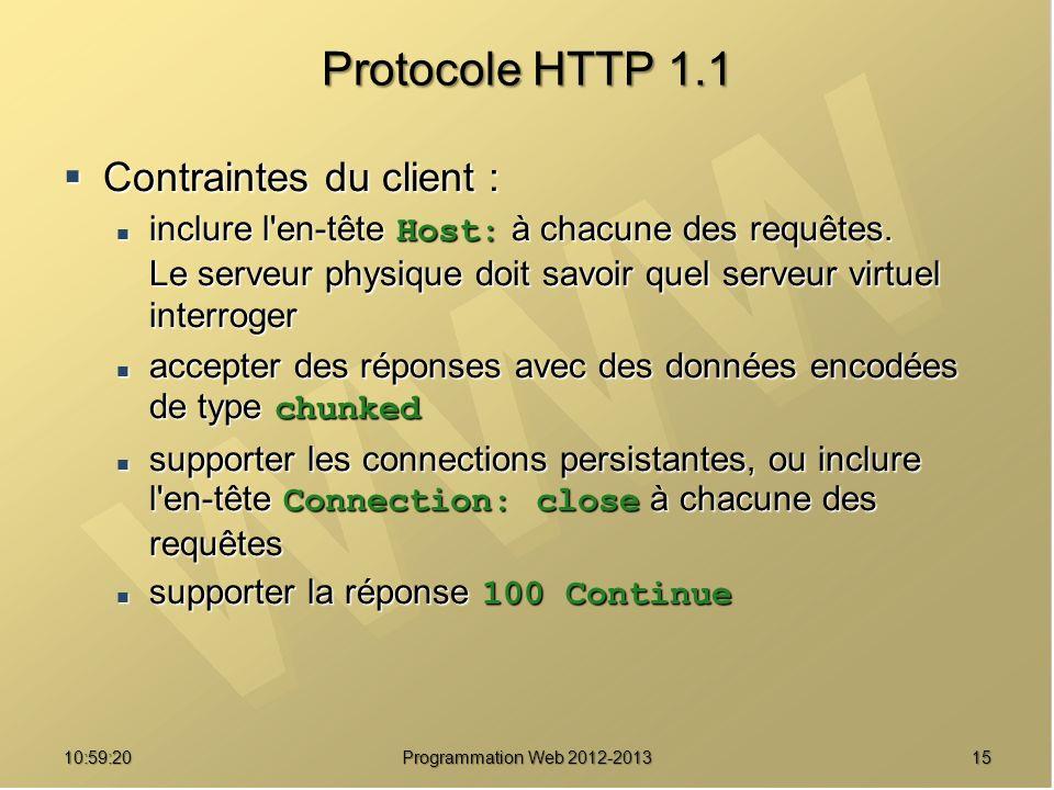 Protocole HTTP 1.1 Contraintes du client :