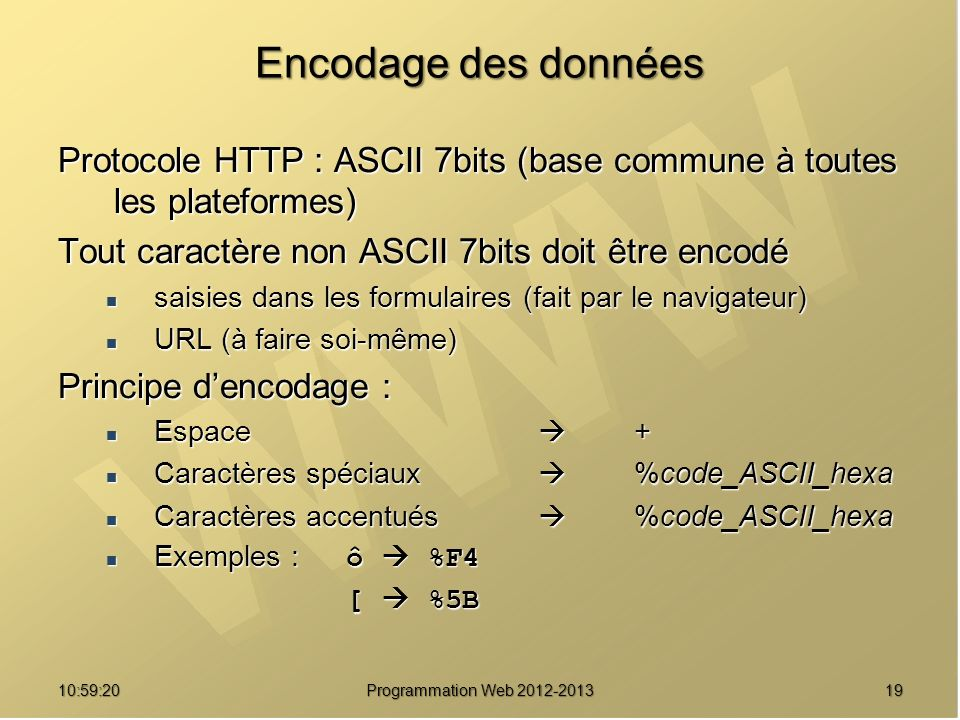 Encodage des données Protocole HTTP : ASCII 7bits (base commune à toutes les plateformes) Tout caractère non ASCII 7bits doit être encodé.