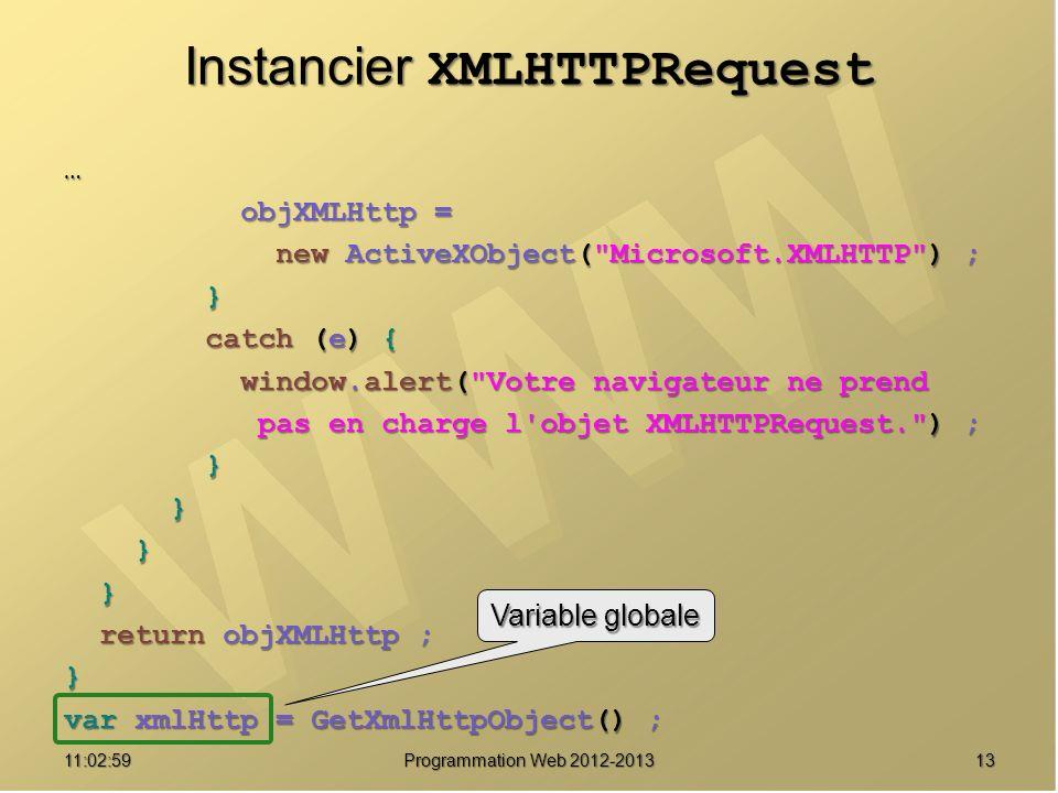 Instancier XMLHTTPRequest