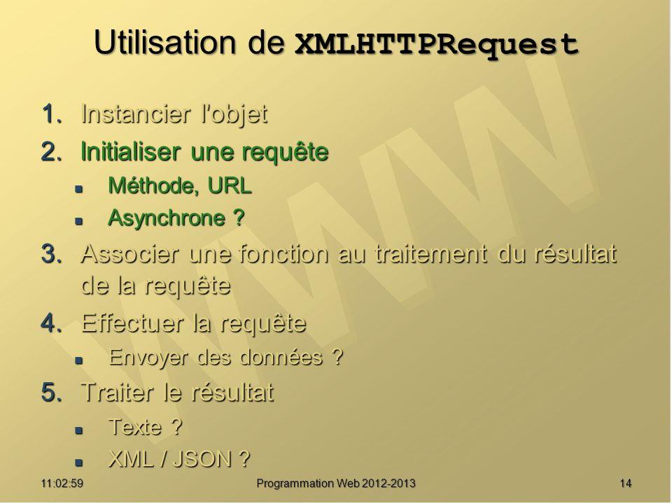 Utilisation de XMLHTTPRequest