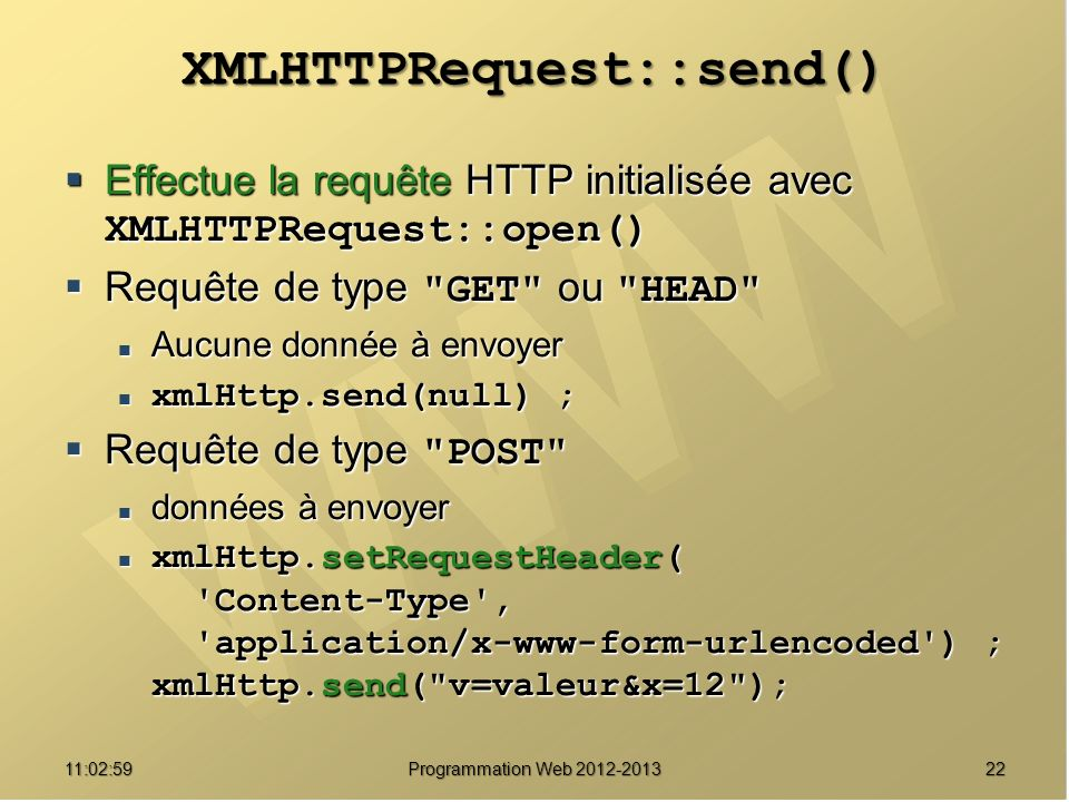 XMLHTTPRequest::send()
