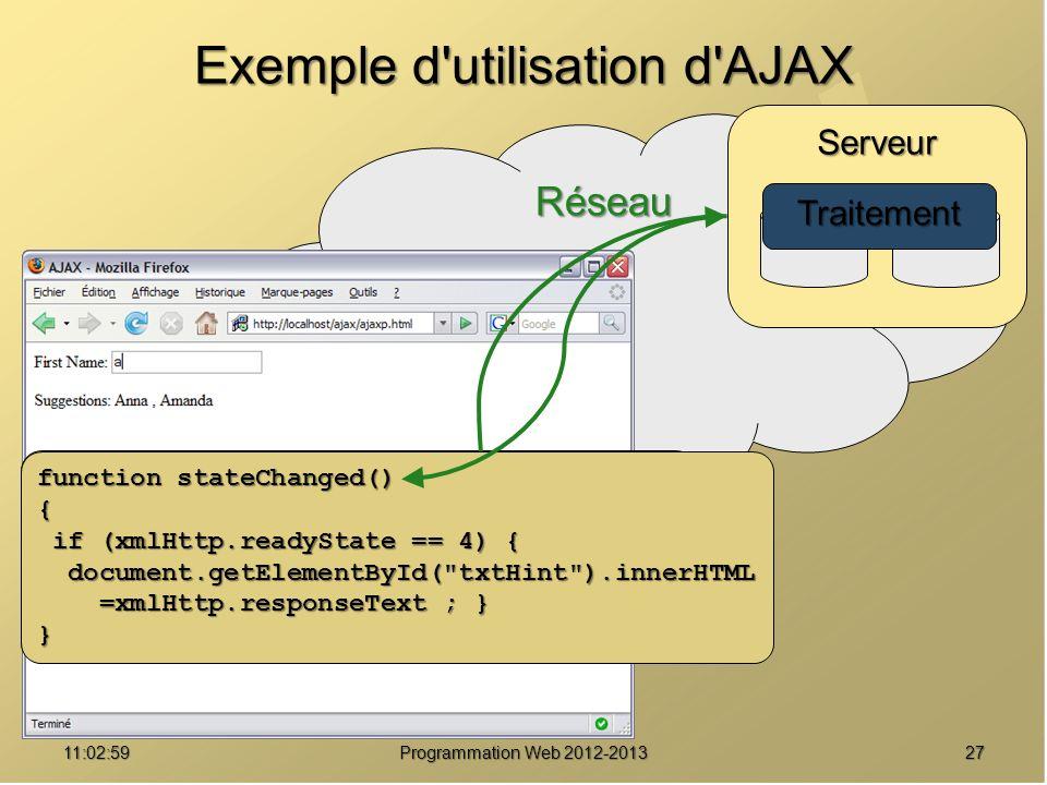 Exemple d utilisation d AJAX