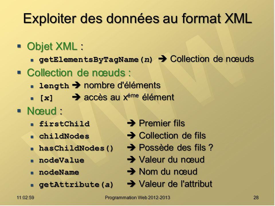 Exploiter des données au format XML