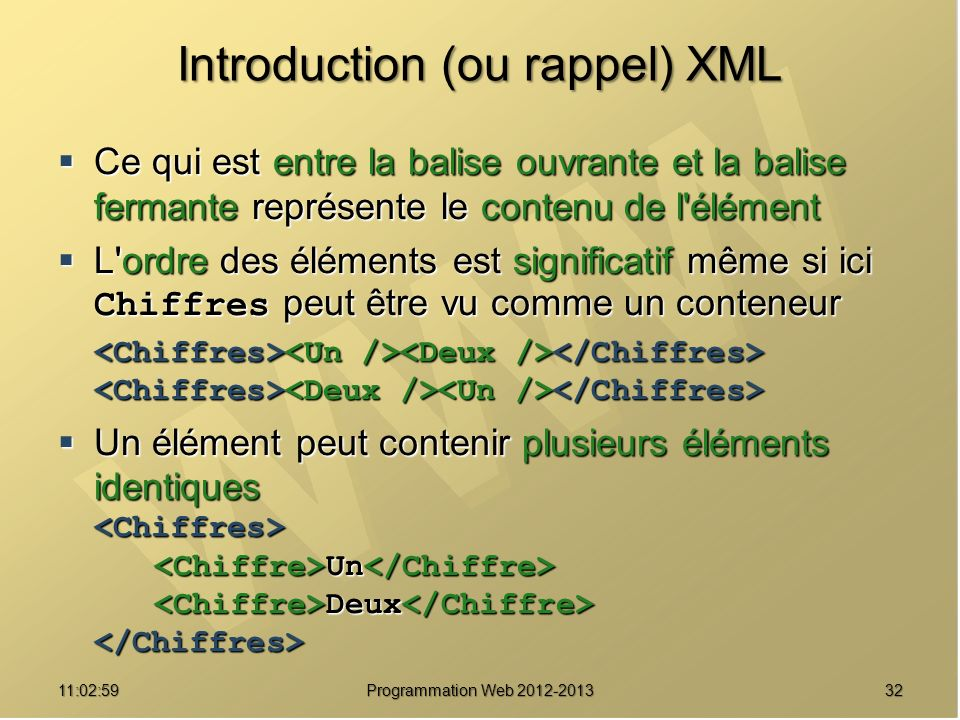 Introduction (ou rappel) XML