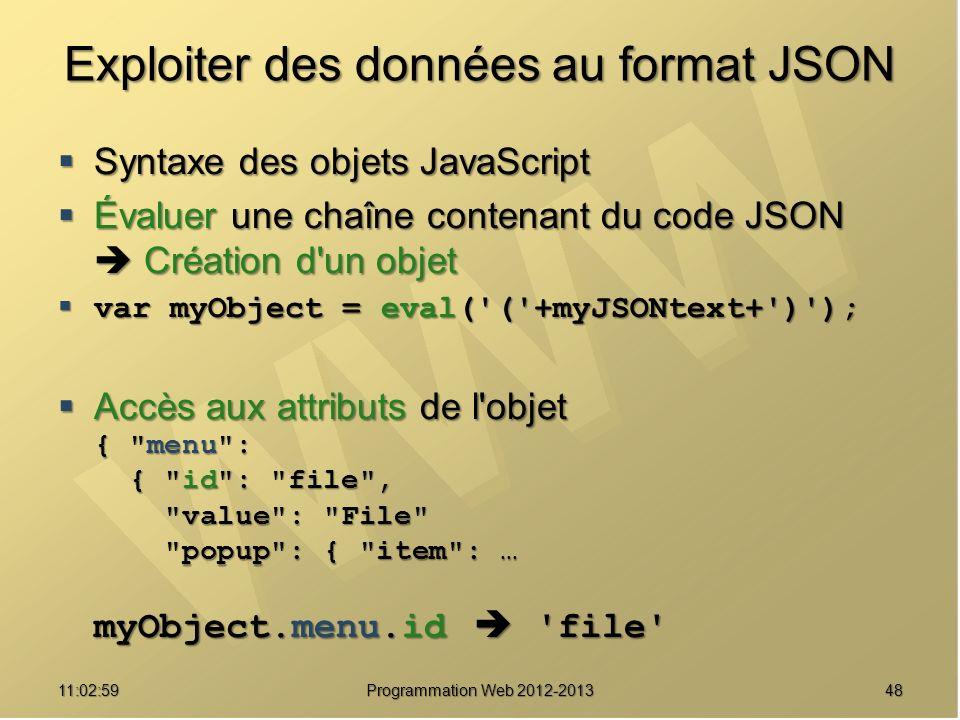Exploiter des données au format JSON