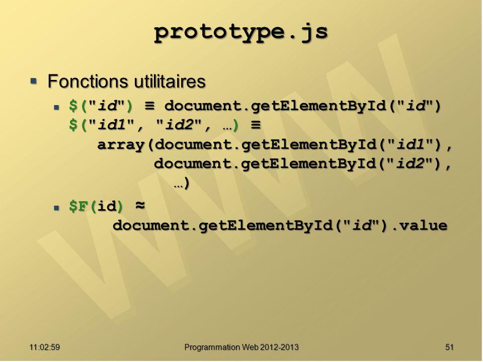 prototype.js Fonctions utilitaires