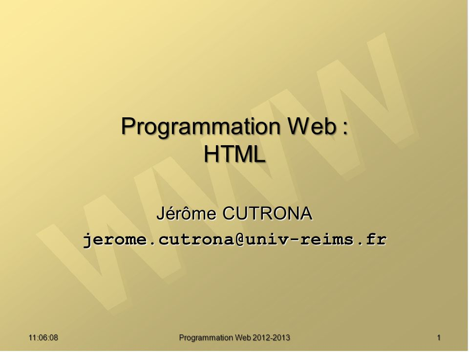 Programmation Web : HTML