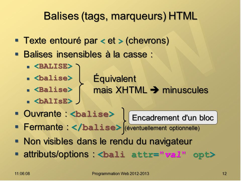 Balises (tags, marqueurs) HTML