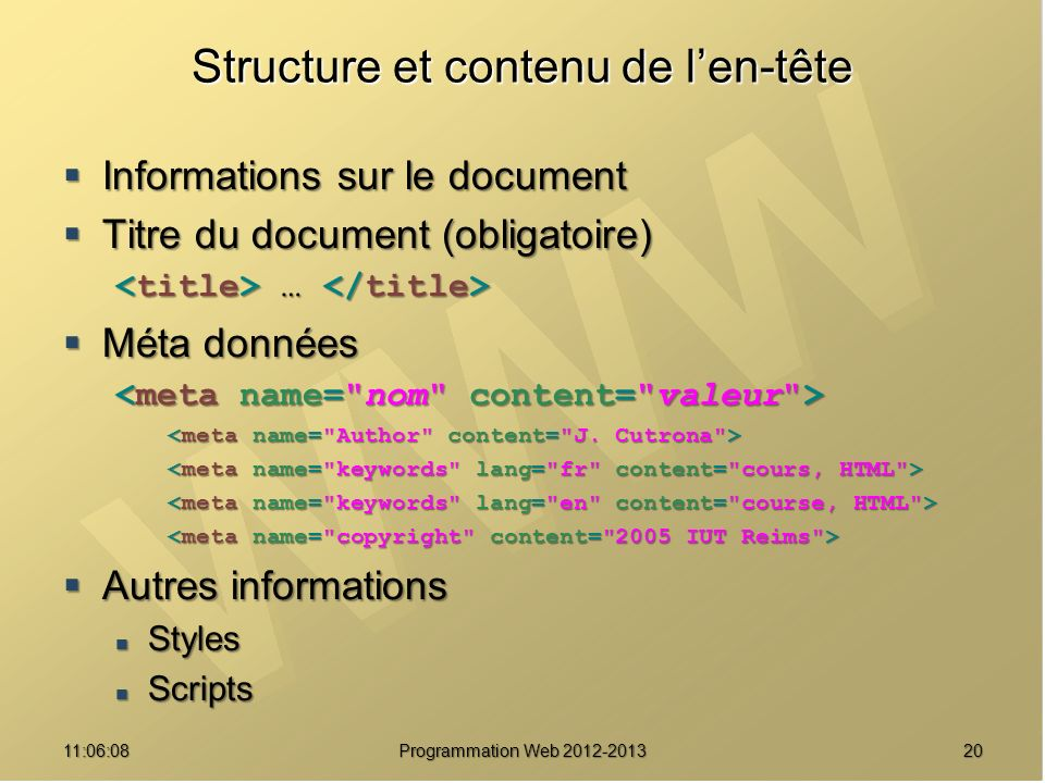 Structure et contenu de l'en-tête