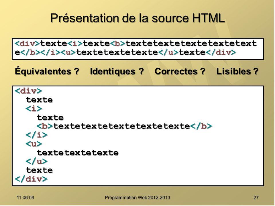 Présentation de la source HTML