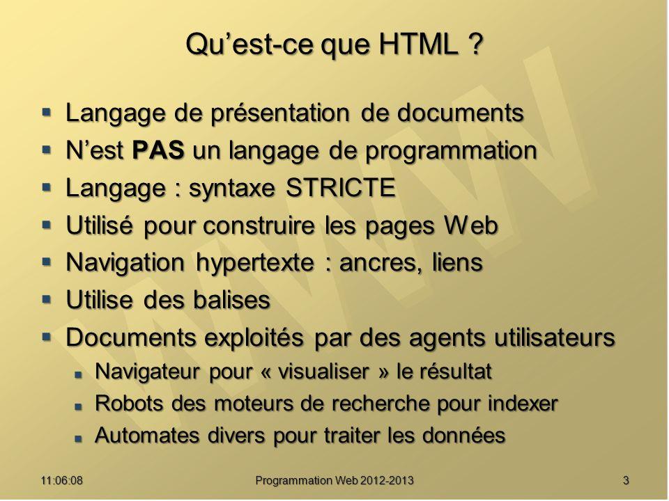 Qu'est-ce que HTML Langage de présentation de documents
