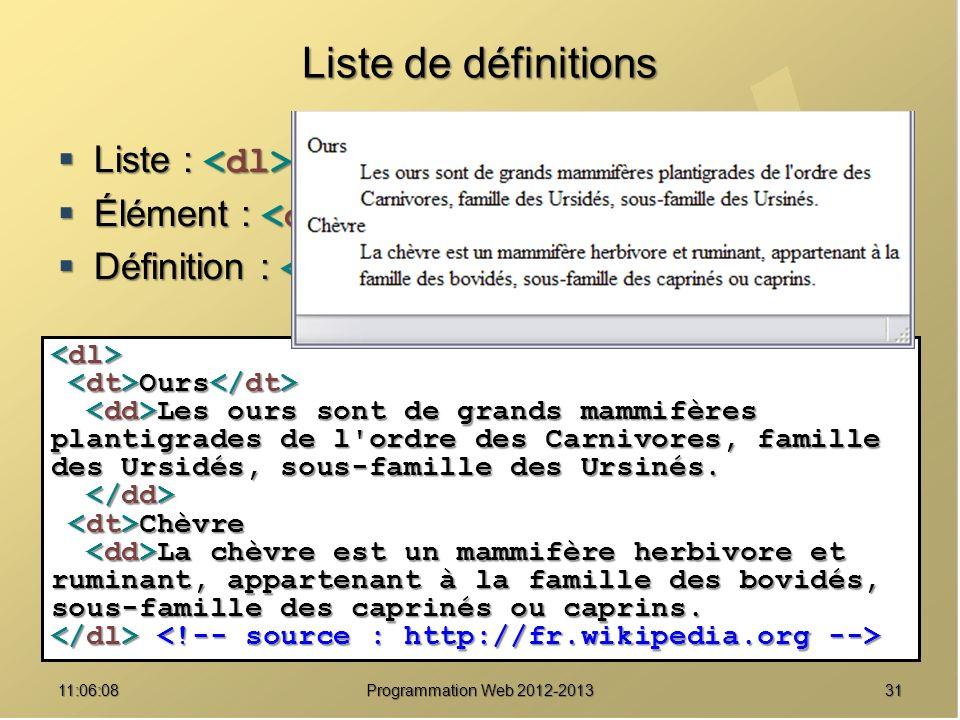 Liste de définitions Liste : <dl> … </dl>