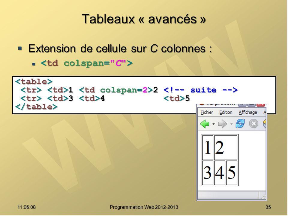 Tableaux « avancés » Extension de cellule sur C colonnes :