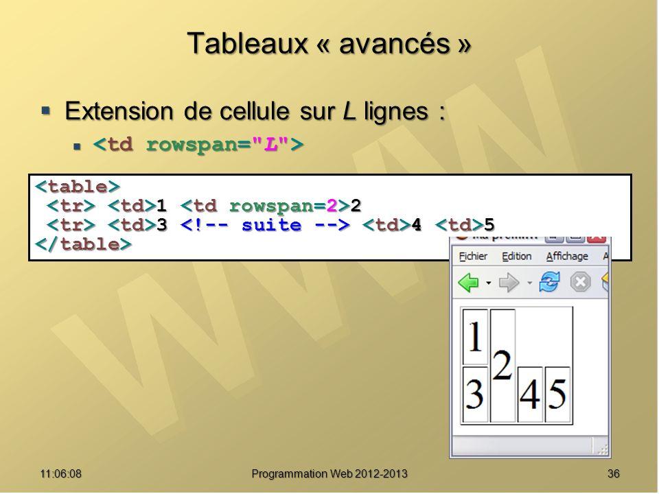 Tableaux « avancés » Extension de cellule sur L lignes :