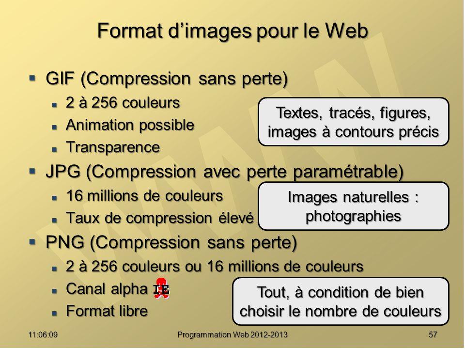 Format d'images pour le Web