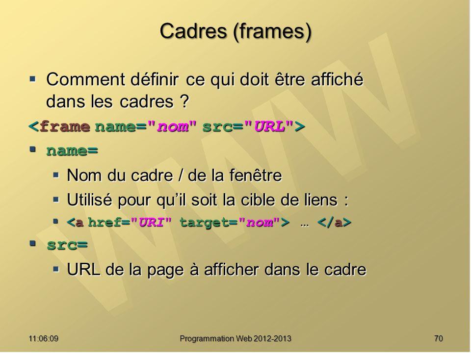 Cadres (frames) Comment définir ce qui doit être affiché dans les cadres <frame name= nom src= URL >