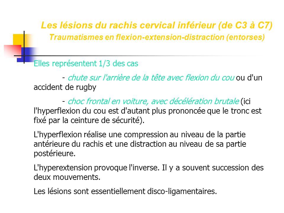 Les lésions du rachis cervical inférieur (de C3 à C7) Traumatismes en flexion-extension-distraction (entorses)