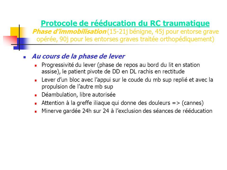 Protocole de rééducation du RC traumatique Phase d'immobilisation (15-21j bénigne, 45j pour entorse grave opérée, 90j pour les entorses graves traitée orthopédiquement)