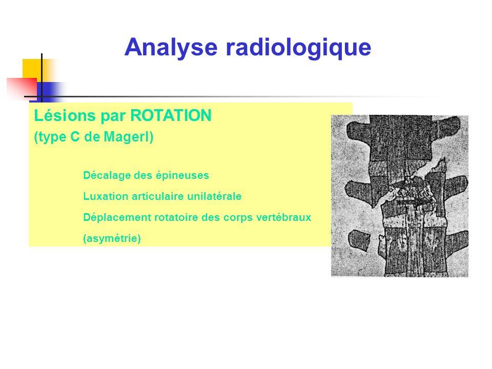 Analyse radiologique Lésions par ROTATION (type C de Magerl)