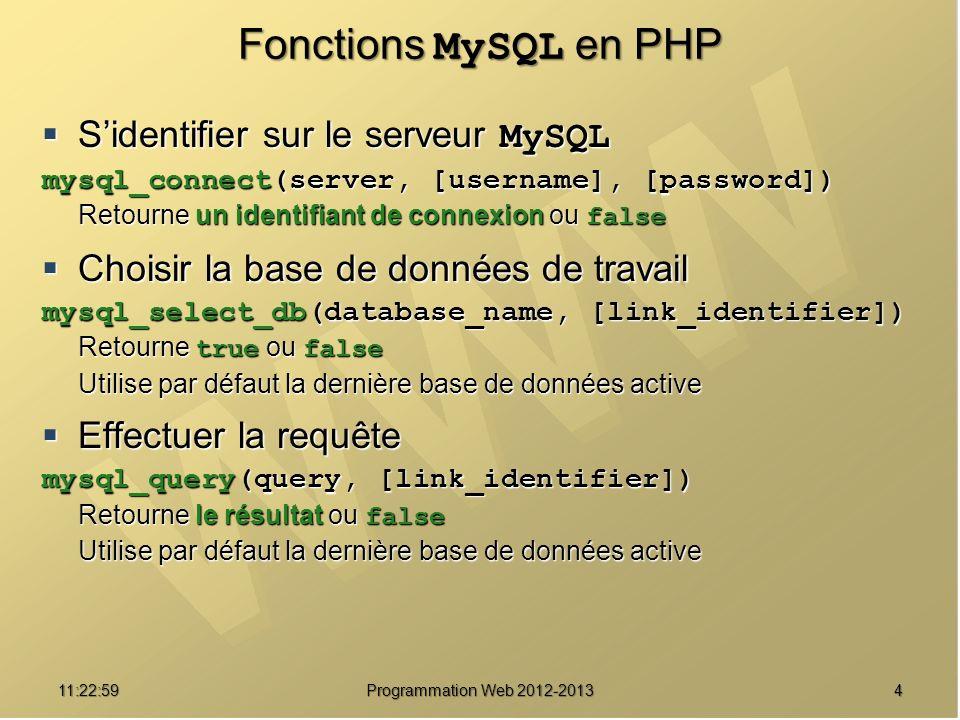 Fonctions MySQL en PHP S'identifier sur le serveur MySQL
