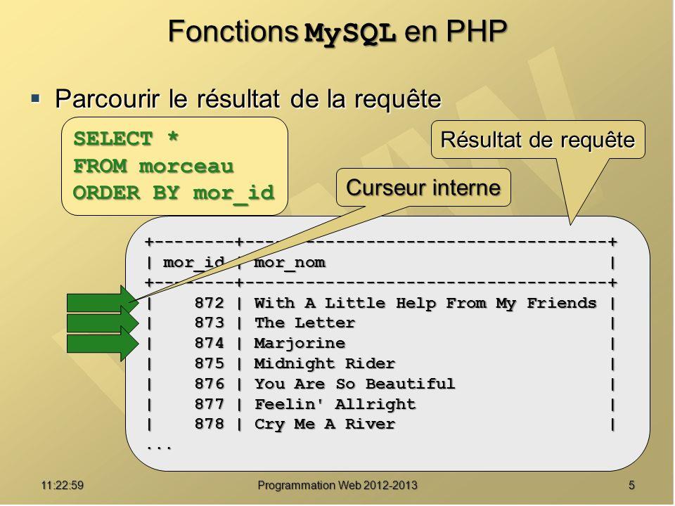 Fonctions MySQL en PHP Parcourir le résultat de la requête SELECT *