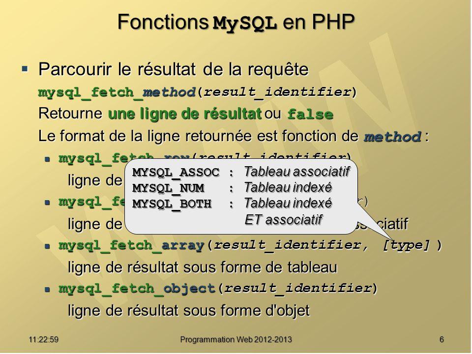 Fonctions MySQL en PHP Parcourir le résultat de la requête