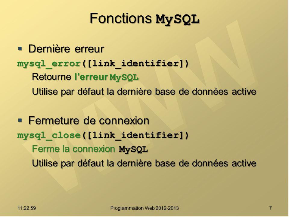 Fonctions MySQL Dernière erreur Fermeture de connexion