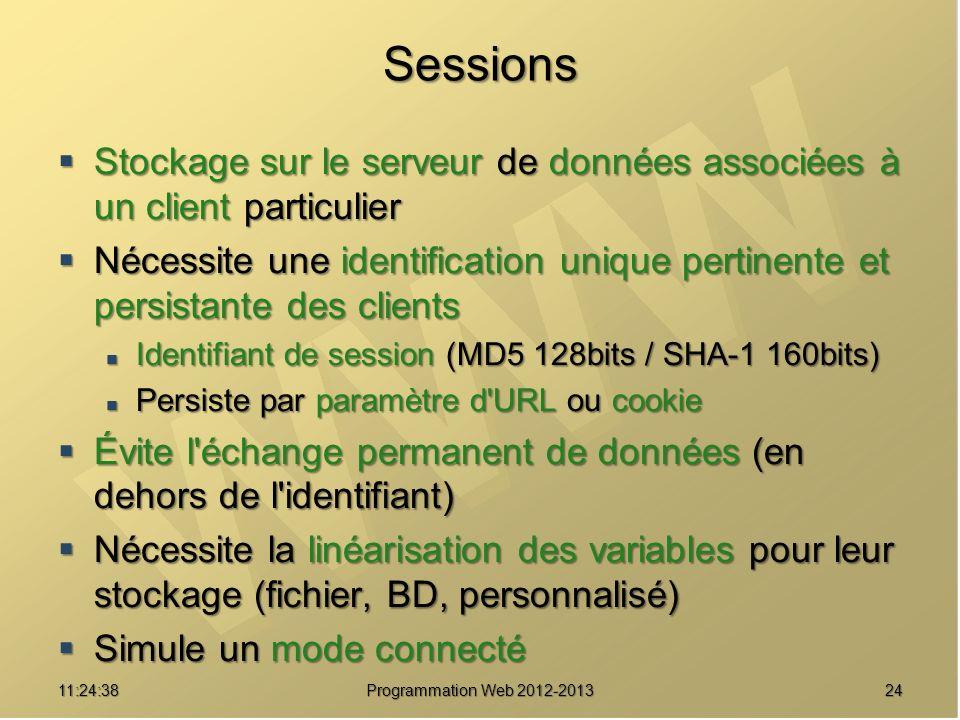 SessionsStockage sur le serveur de données associées à un client particulier.