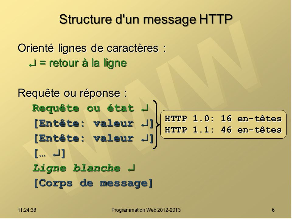 Structure d un message HTTP