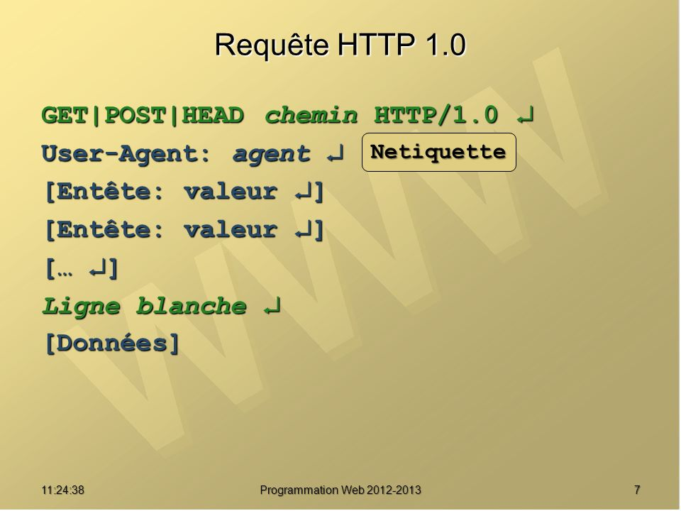 Requête HTTP 1.0 GET|POST|HEAD chemin HTTP/1.0  User-Agent: agent 